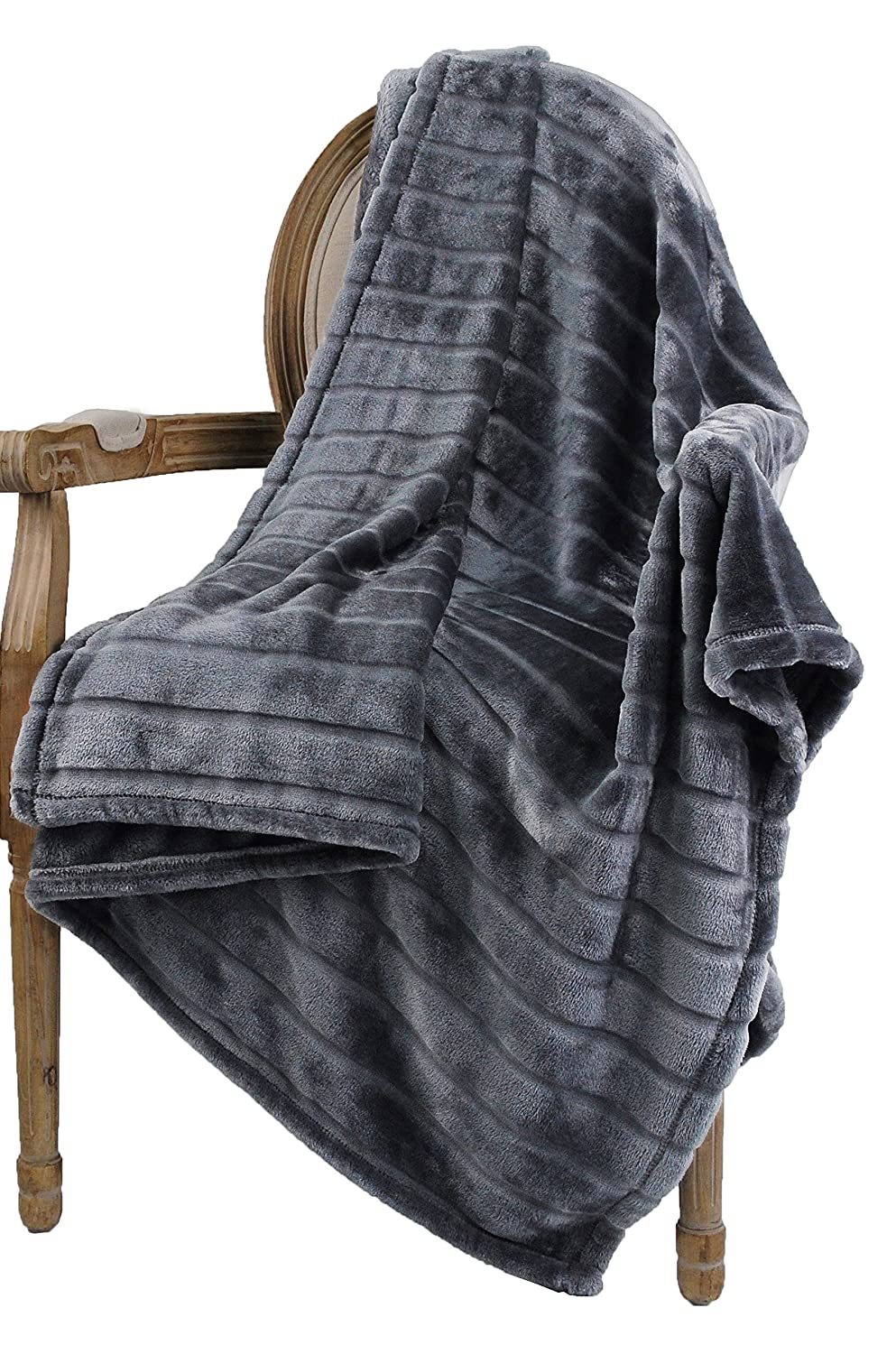 Bertte Ultra Velvet Plush Super Soft Decorative Stripe Throw Blanket Solid Dark Grey