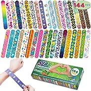 JOYIN 144 Pcs Slap Bracelets Wristbands with Emoji, Animals, Friendship, Heart Print Design, for Kids Valentine's Day Party F
