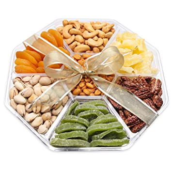Gourmet Gift Basket Dried Fruit And Nuts - Large 7 Section Tray - Elegant Ribbon No