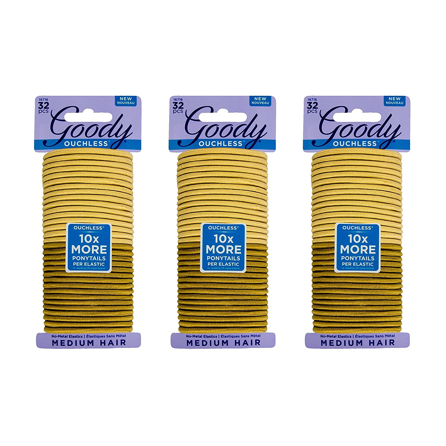 Goody Ouchless Women's Braided Elastics, Blondes, (96 CT Total/Pack of 3) 4MM for Medium Hair 30041457167169