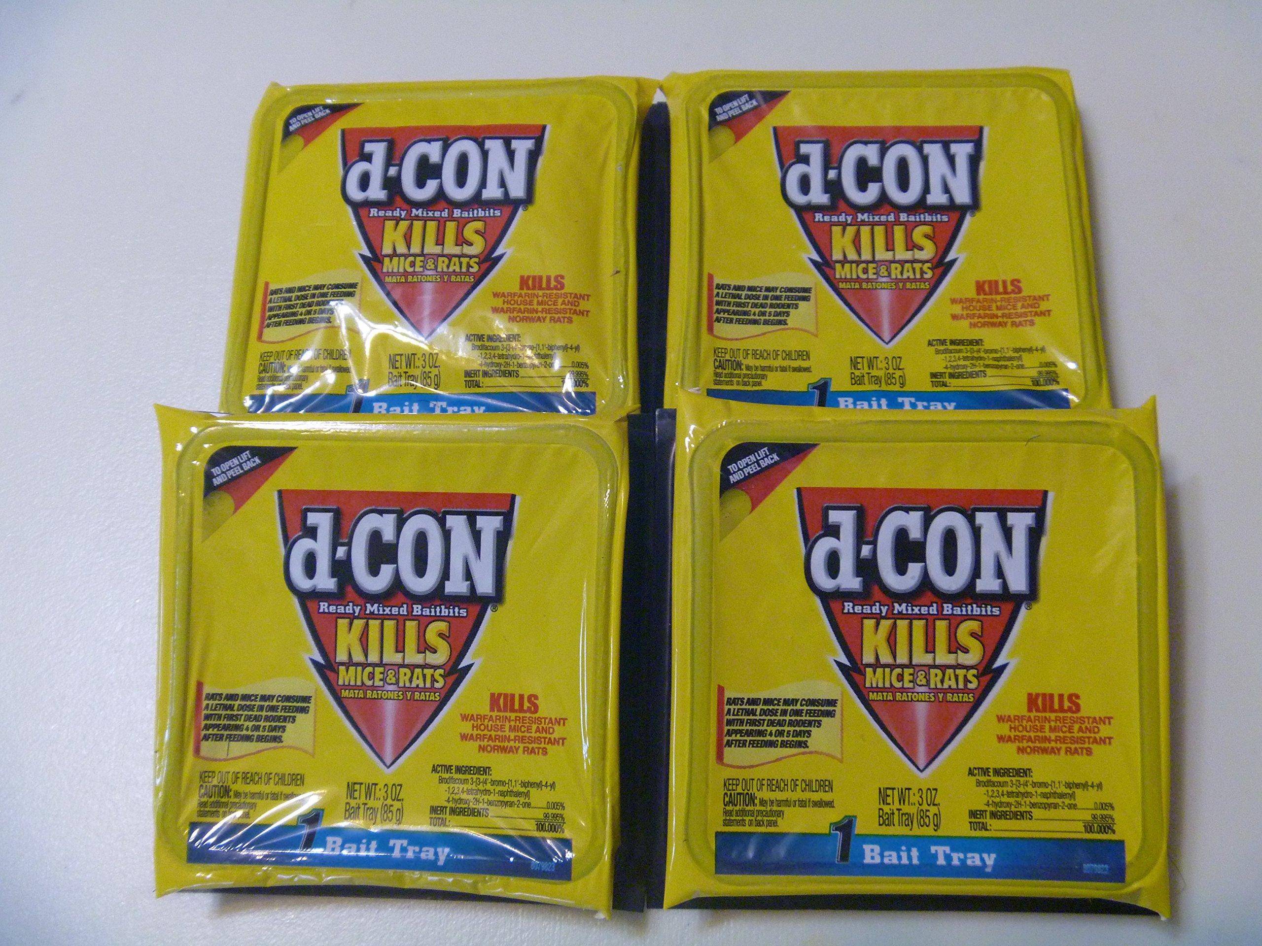 D-CON Ready Mixed Baitbits 4- 3 oz. Trays Rat Poison dcon