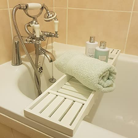 Borewood Solid Pine Wood White BathTub Rack Bridge Bath Caddy Wooden ...