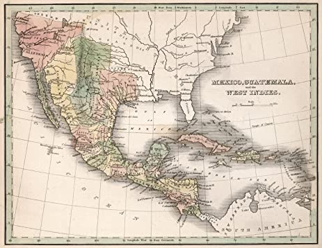 Amazon world atlas map mexico guatemala and the west indies world atlas map mexico guatemala and the west indies 1838 historic antique vintage gumiabroncs Image collections