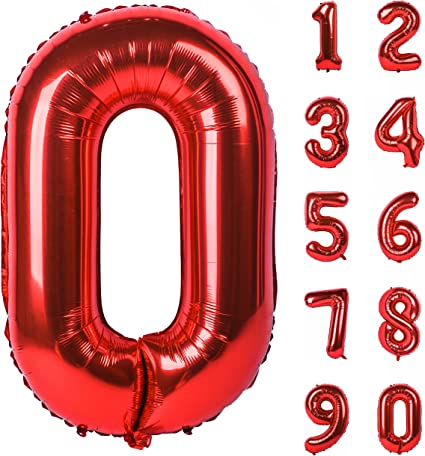40 Inch Red Large Numbers 2018 Decorations Helium Foil Mylar Big Great