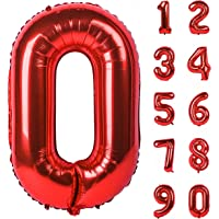 40 Inch Red Large Numbers 0-9 Birthday Party Decorations Helium Foil Mylar Big Number Balloon Digital 0