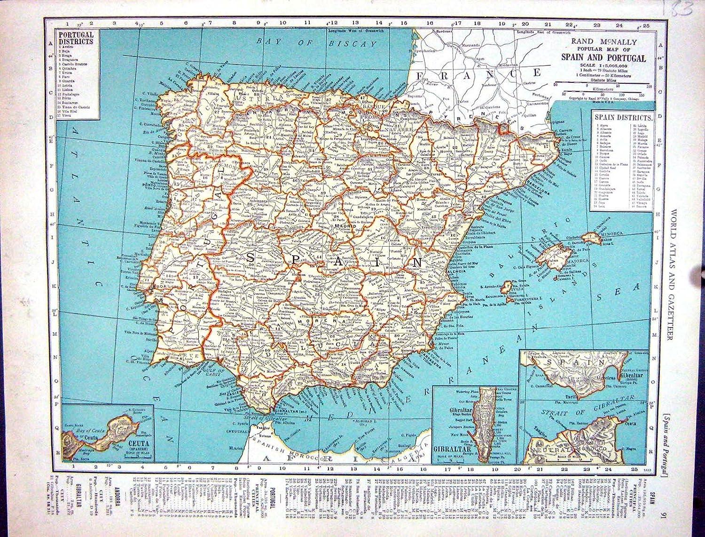 Bergmann Antiker Rand Mcnally Spanien Portugal Gibraltar
