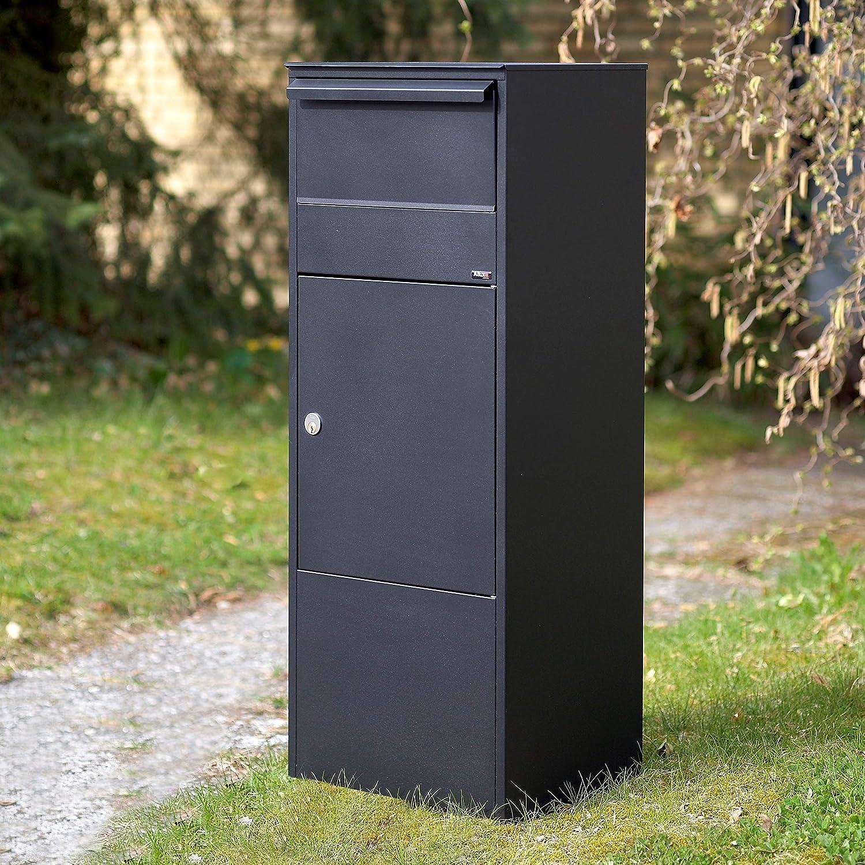 Wasserdichte Abschlie/ßbare Sichere Paketkasten Anthrazit Allux 800 F54807 Briefkasten gro/ß XL 980 x 390 x 280 mm