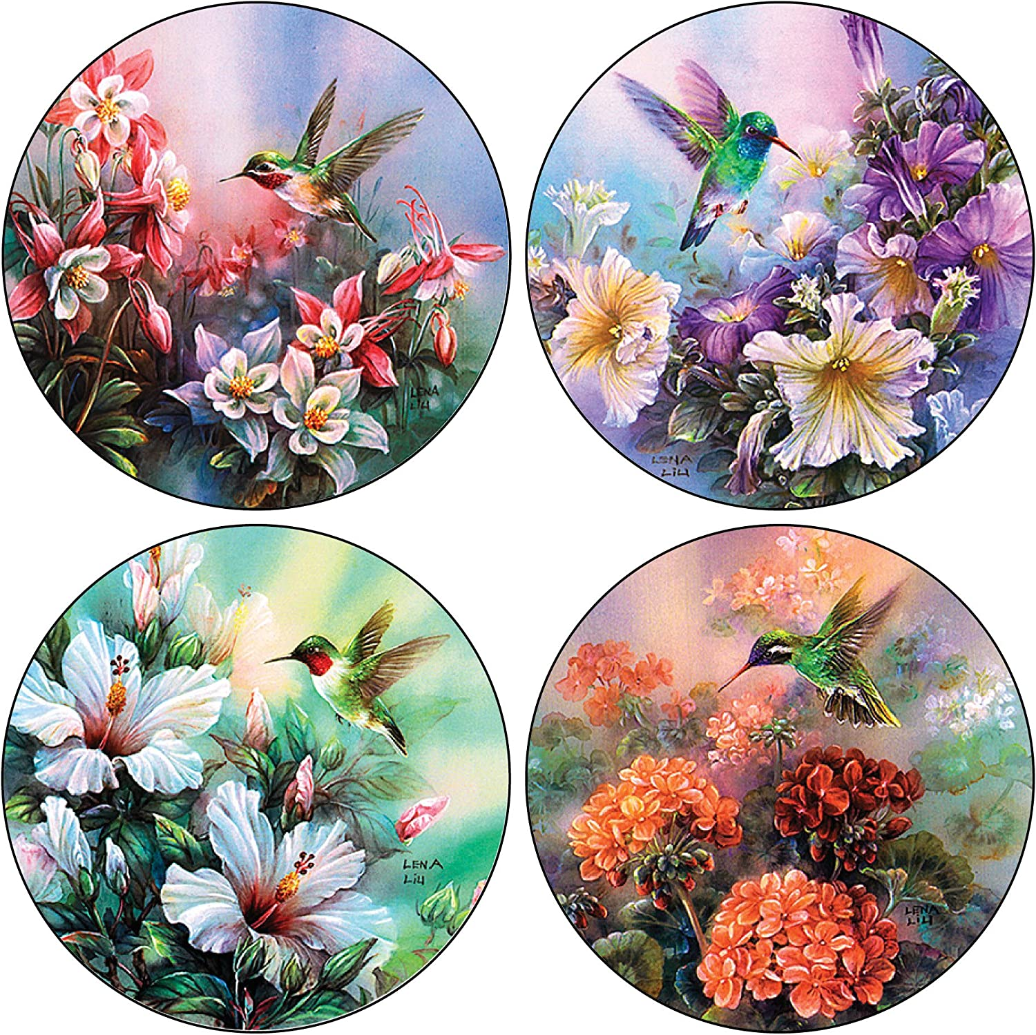CoasterStone Absorbent Coasters, 4-1/4-Inch, Hummingbirds in Floral, Set of 4