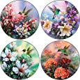 CoasterStone AS520 Absorbent Coasters, 4-1/4-Inch, Hummingbirds in Floral, Set of 4