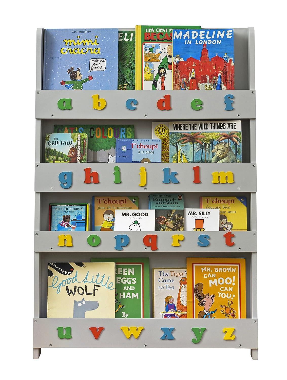 Tidy Books® - The Original Children's Bookcase in White with Alphabet - Front Facing Bookshelf - Perfect Children's Book Storage 115 x 77 x 7 cm BC-WLC