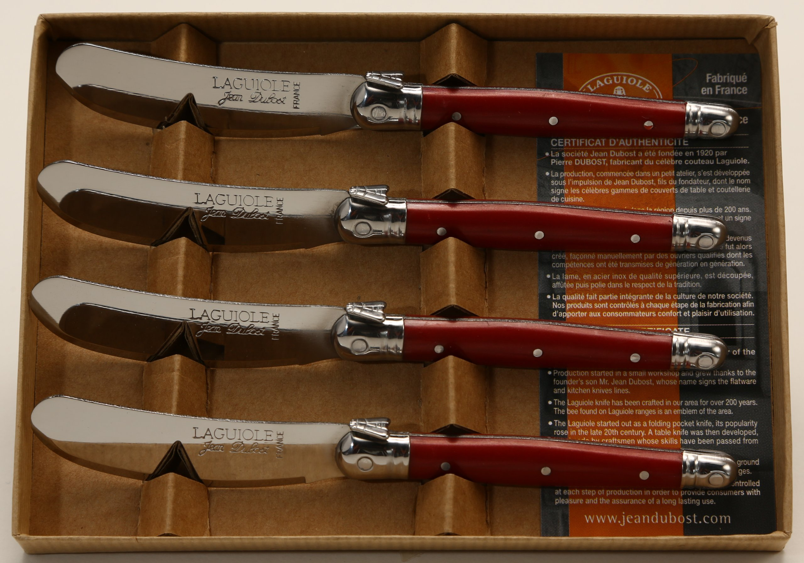 Jean Dubost Laguiole 4 Spreaders in Craft Box, Red by Jean Dubost Laguiole