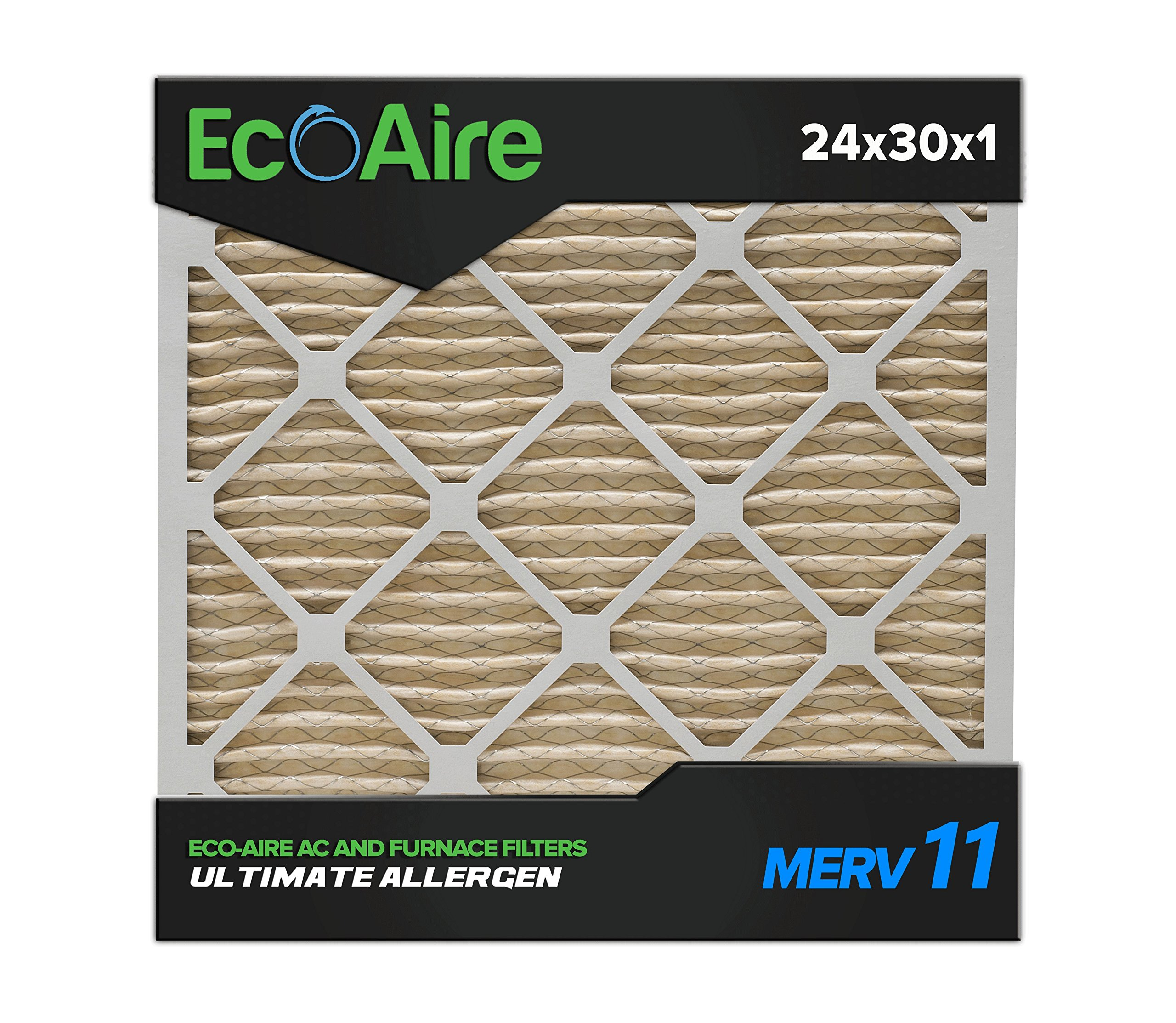 Eco-Aire 24x30x1 MERV 11, Pleated Air Filter, 24x30x1, Box of 6, Made in the USA