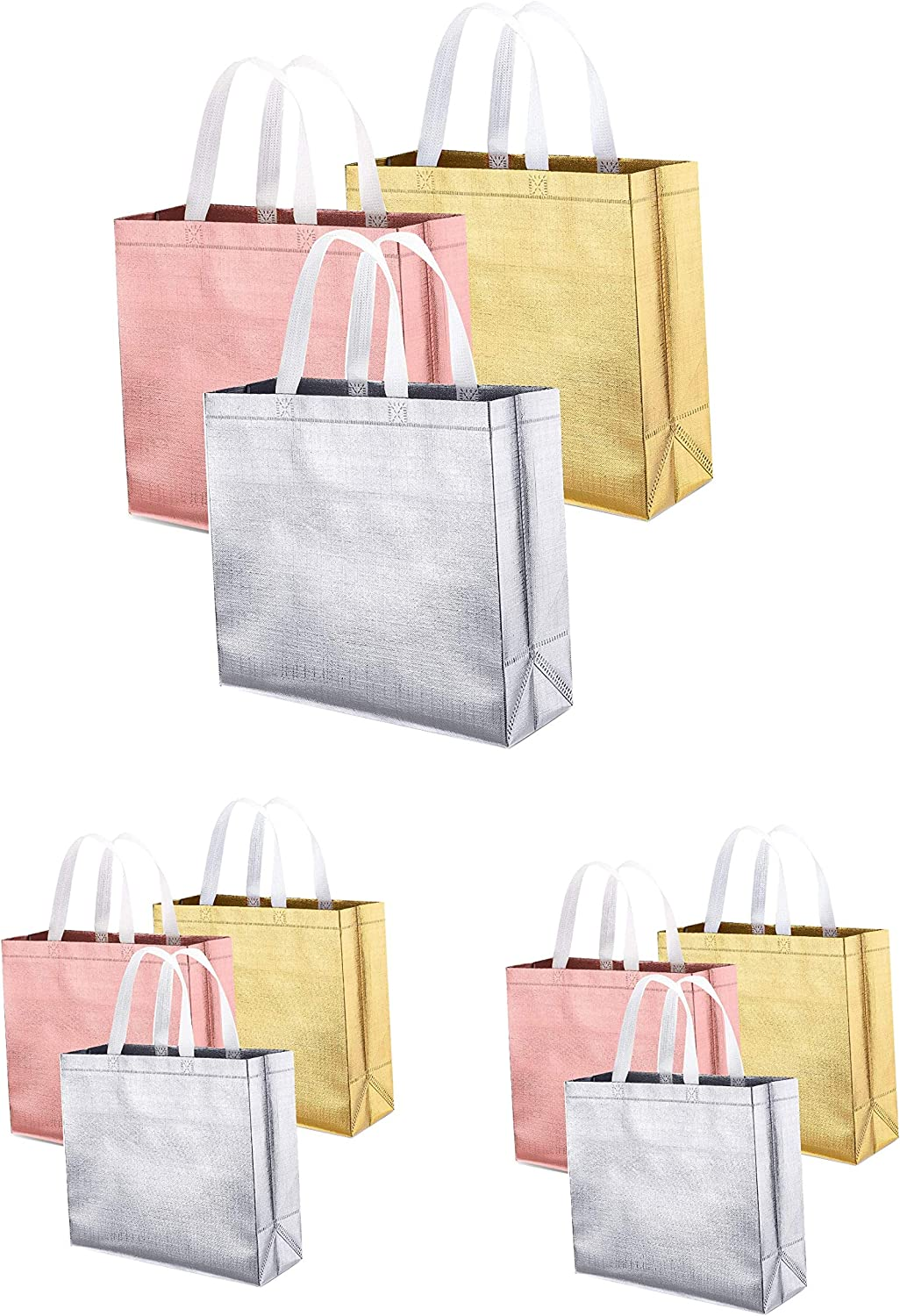 Reusable Grocery Bags, 9pack Tote Bags Non-woven Glossy Waterproof Durable Fashionable Stand-up Bags with Fancy Colors for Shopping Daily Organization Wedding Promotion Party Event (9 Pack)