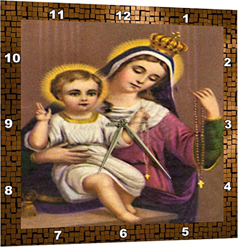 3dRose Vintage Mother Mary and Baby Jesus – Wall Clock, 13 by 13-Inch DPP_8042_2