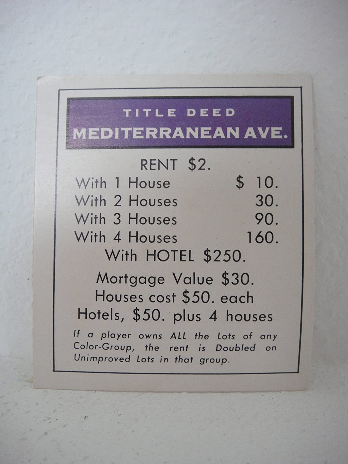 Amazoncom 1961 Monopoly Replacement Parts Tittle Deed