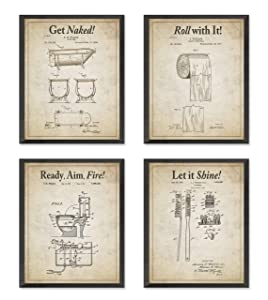 Bathroom Patent Wall Art Prints with Slogans, Set of 4, Unframed, Vintage Toilet Photos, Wall Art Decor Poster Sign, 8x10 Inches