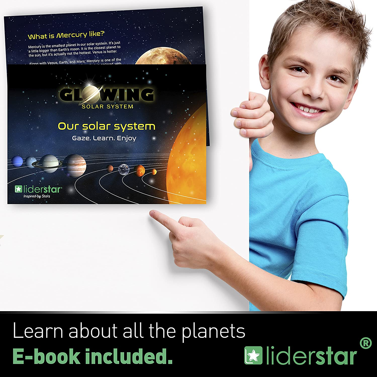 9 Glowing wall stickers LIDERSTAR Glow in the dark Stars and Planets EARTH Solar System :SUN Ceiling Decals to Light Up your Kid/'s Bedroom Space Room Decoration MARCH...