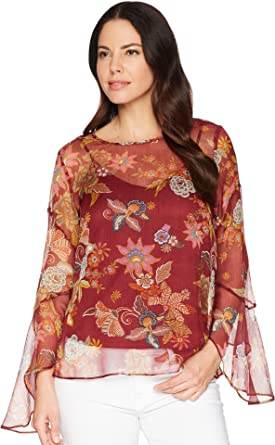 26f510a48b65 VINCE CAMUTO Womens Flared Sleeve Floral Print Blouse Dahlia Red XS