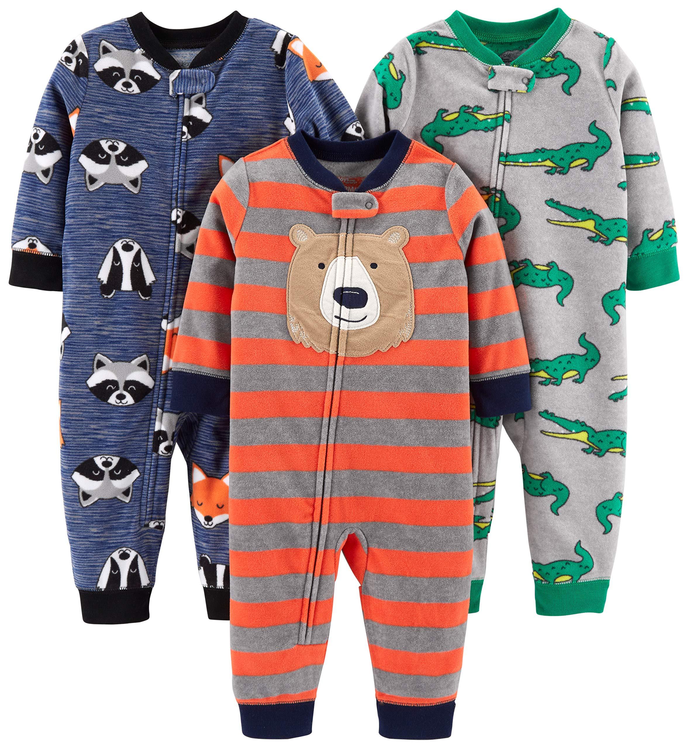 Simple Joys by Carter's Boys' 3-Pack Loose Fit Flame Resistant Fleece Footless Pajamas, Bear/Alligator/Fox/Racoon, 24 Months