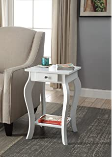 White Finish Curved Legs Accent Side End Table / Nighstand With Bottom  Shelf And Drawer