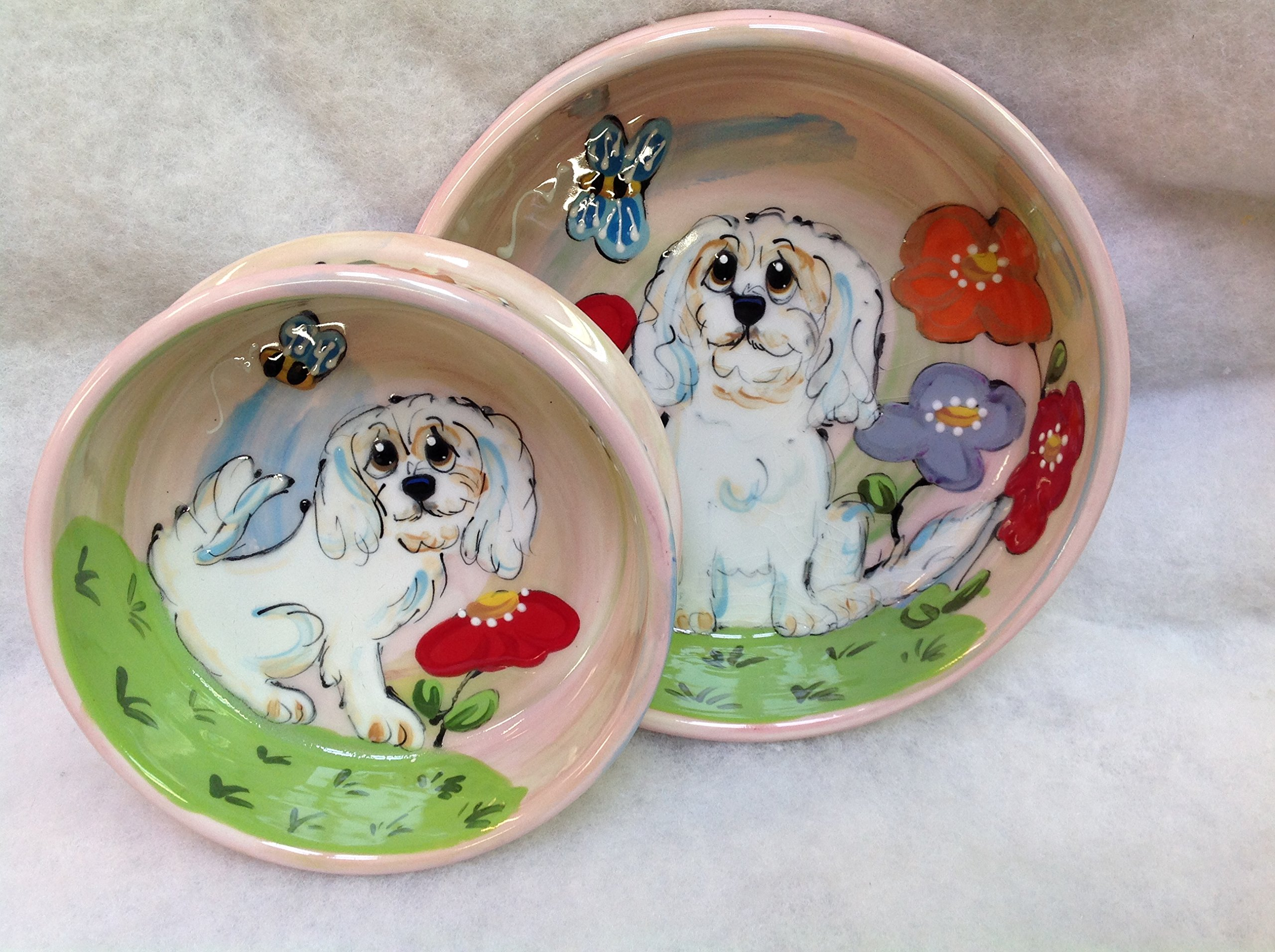 Lhaso Apso 8'' and 6'' Pet Bowls for Food and Water, Personalized at no Charge. Signed by Artist, Debby Carman.