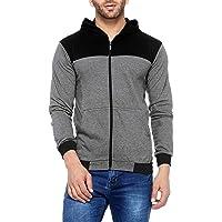 V3Squared Men's Cotton Full Sleeve Zipper Hooded T-Shirt Grey & Black