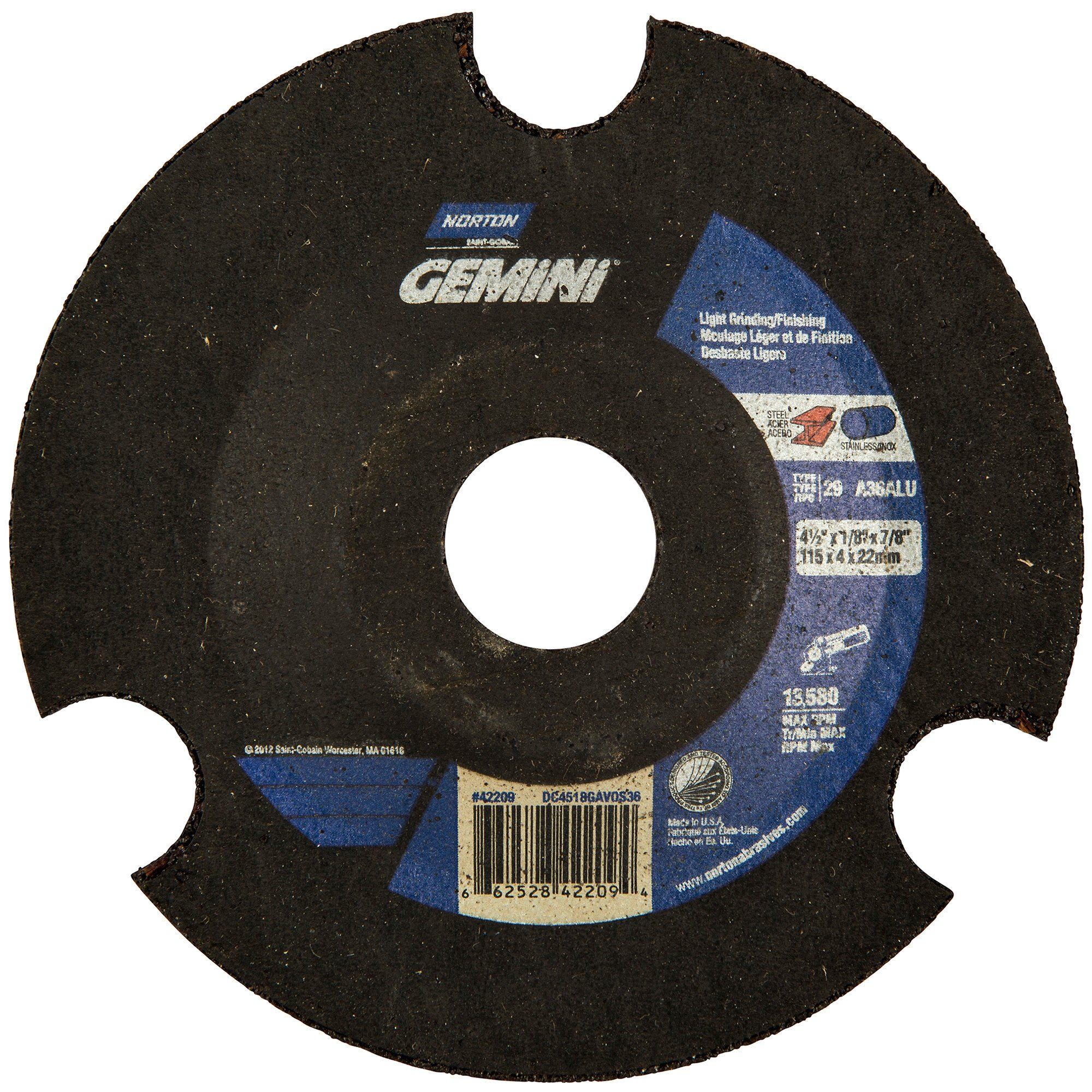 Norton Charger AVOS Depressed Center Abrasive Wheel, Type 29, Aluminum Oxide, 7/8'' Arbor, 4-1/2'' Diameter x 1/8'' Thickness, Grit 36 (Pack of 25)