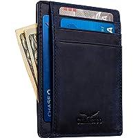 Front Pocket Slim Wallet for Men Genuine Leather RFID Blocking 6 Card Holder …