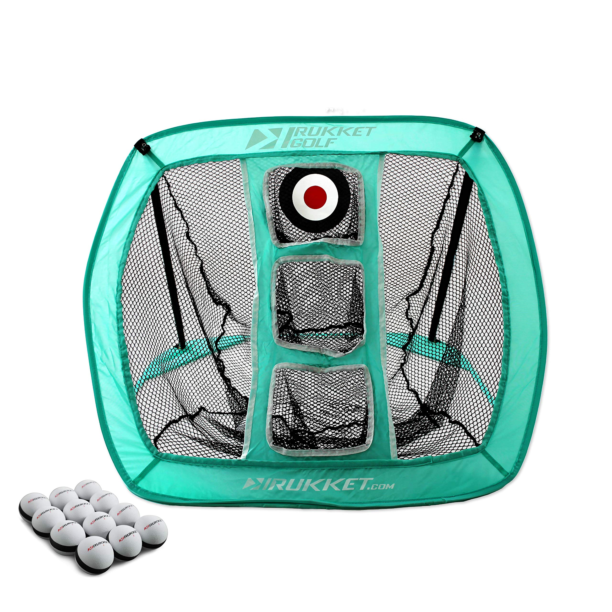 Rukket Pop Up Golf Chipping Net | Outdoor/Indoor Golfing Target Accessories and Backyard Practice Swing Game with 12 Foam Training Balls (Blue) by Rukket Sports