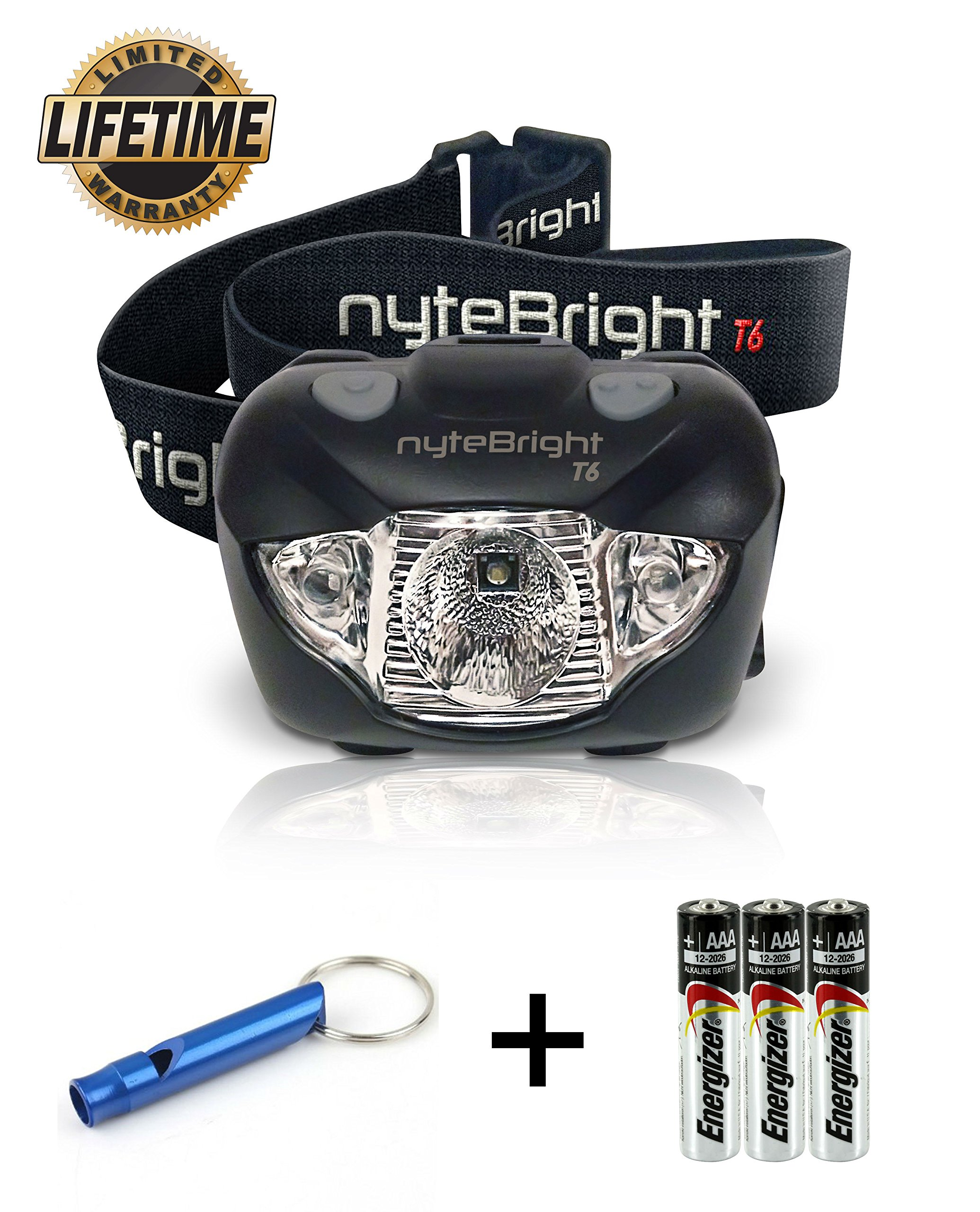 LED Headlamp Flashlight with Red Light – Brightest Headlight for Camping Hiking Running Backpacking Hunting Walking Reading - Waterproof Headlamps - Best Work Head Lamp Light with FREE Batteries! by nyteBright (Image #1)