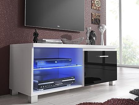 SelectionHome - Módulo salón Comedor TV, Color Blanco y Negro Lacado Brillo, Medidas: 100 x 40 x 42 cm de Fondo: Amazon.es: Hogar