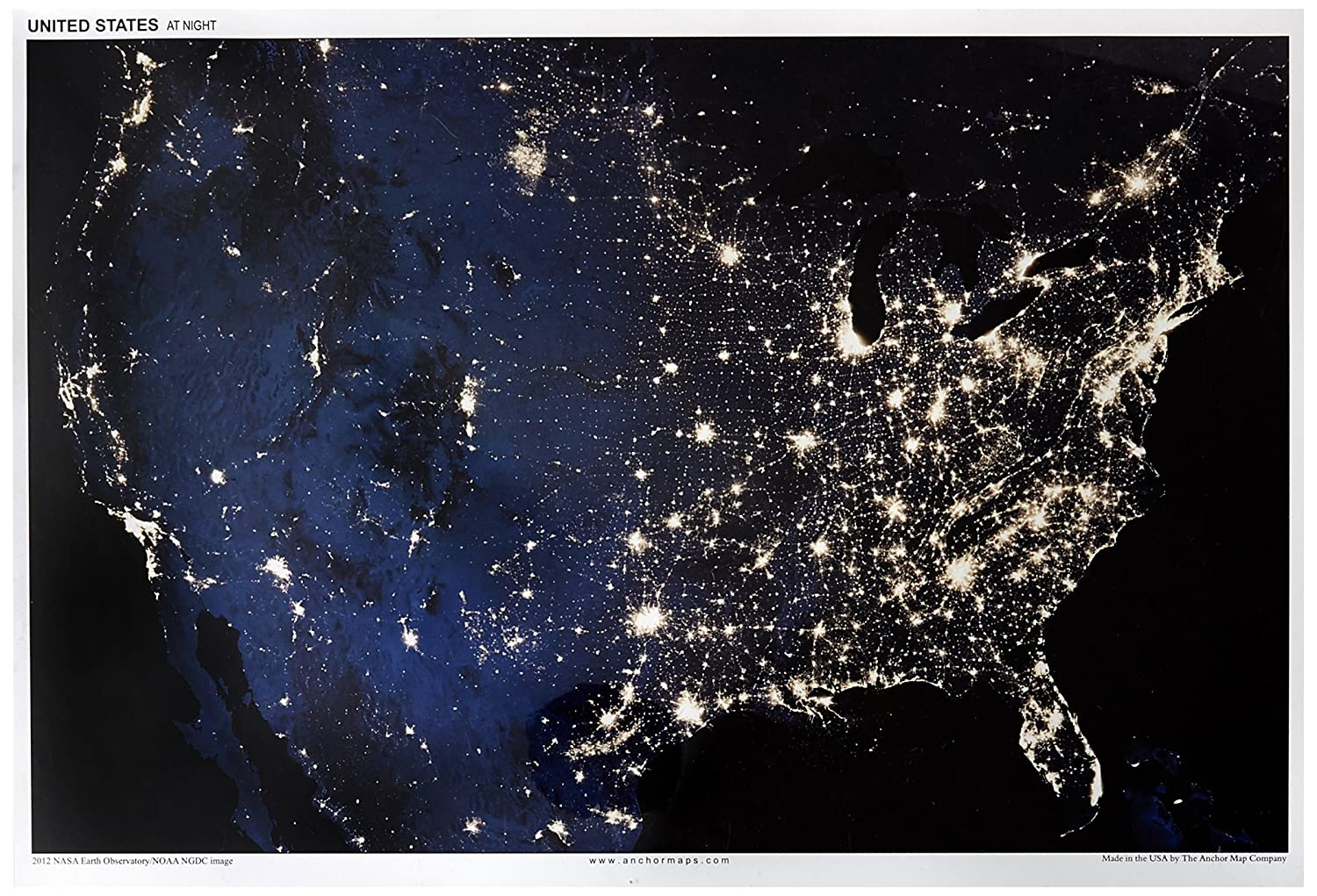 Night And Day Usa Poster Bundle 13x19 Anchor Maps United States