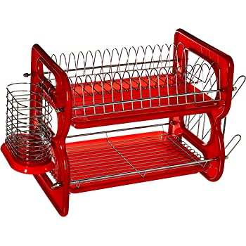 Home Basics Dish Plastic Drainer 2 Tier Red Hds Trading Corp Dd10248