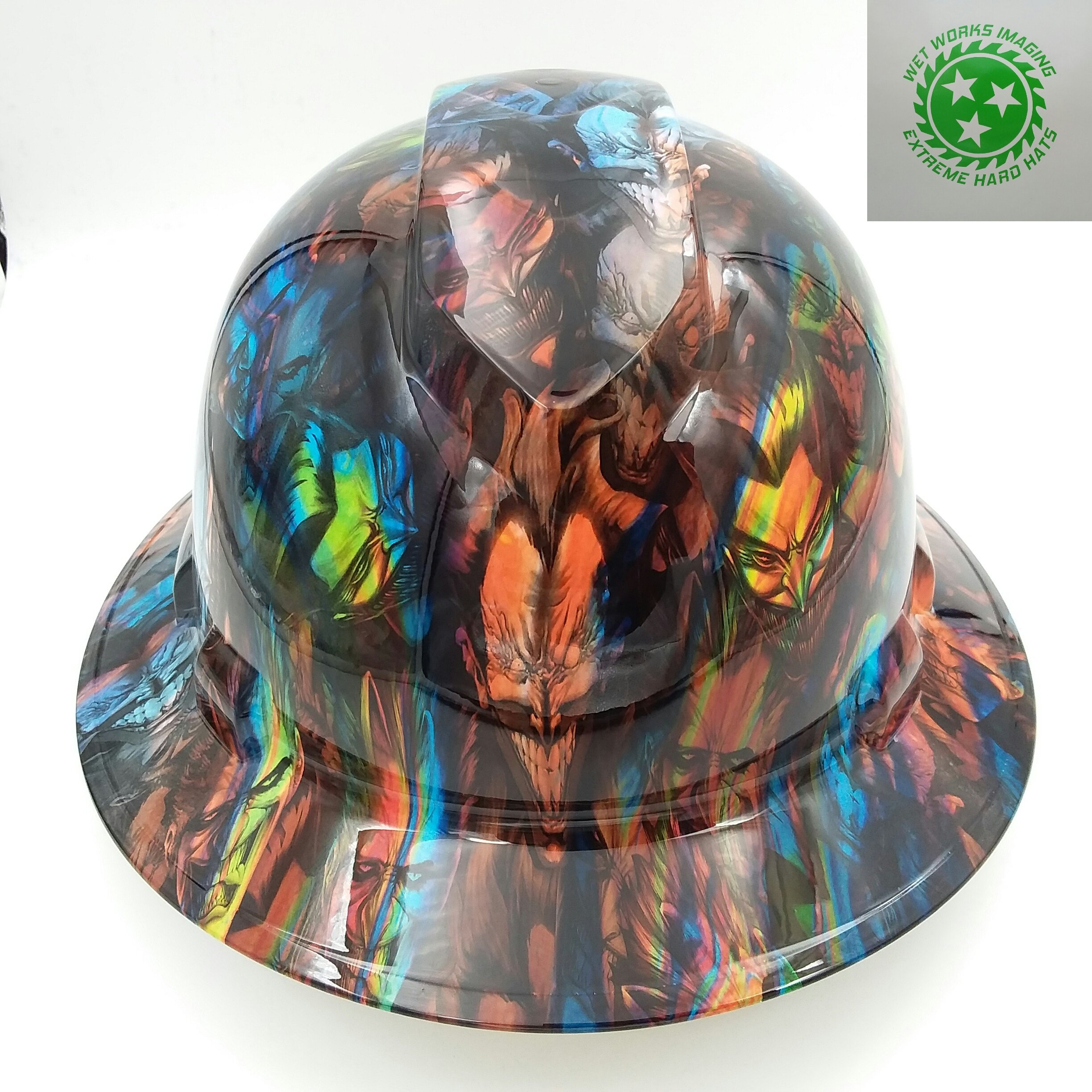 Wet Works Imaging Customized Pyramex Full Brim Jokers On Acid Hard Hat With Ratcheting Suspension