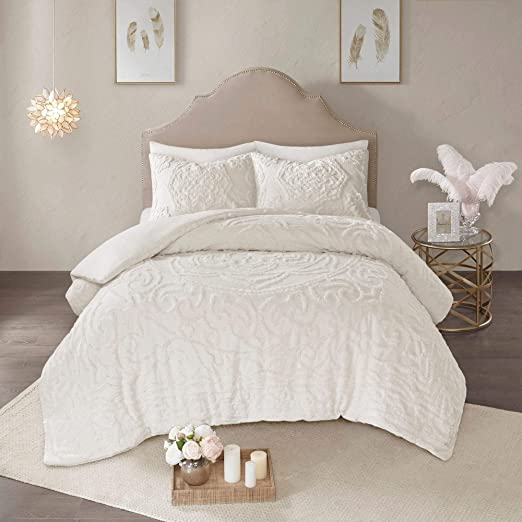 Amazon Com Misc Medallion Ivory White Chenille Duvet Cover King