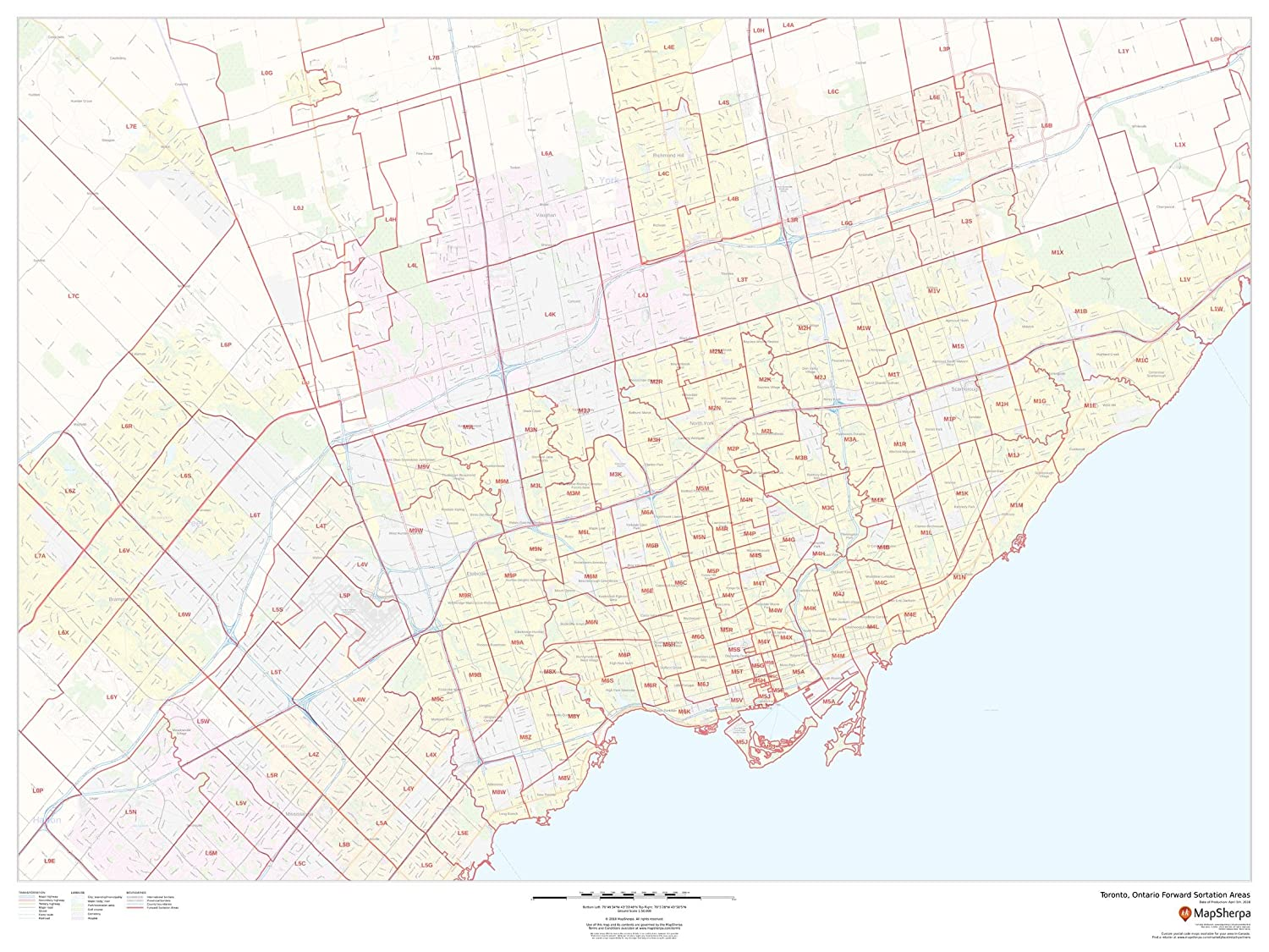 Postal Code Map Toronto Amazon.: Toronto, Ontario Postal Code Forward Sortation Areas