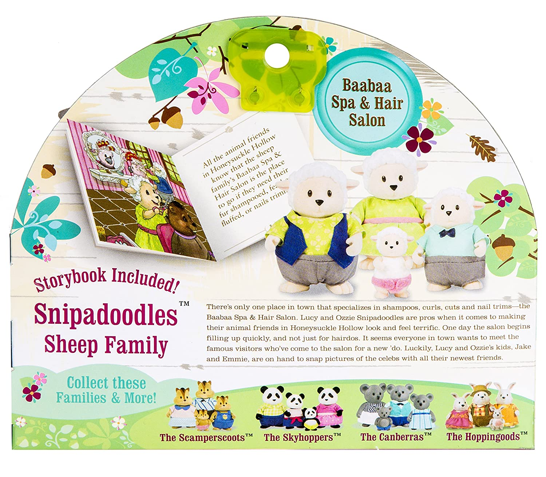 Lil Woodzeez 4-Piece Animal Figurine Set with Storybook Snipadoodles Sheep Family
