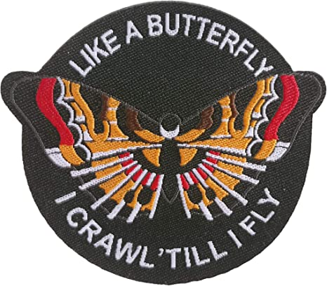 Like a Butterfly I Crawl /'till I Fly  Embroidered Iron On Patch Applique