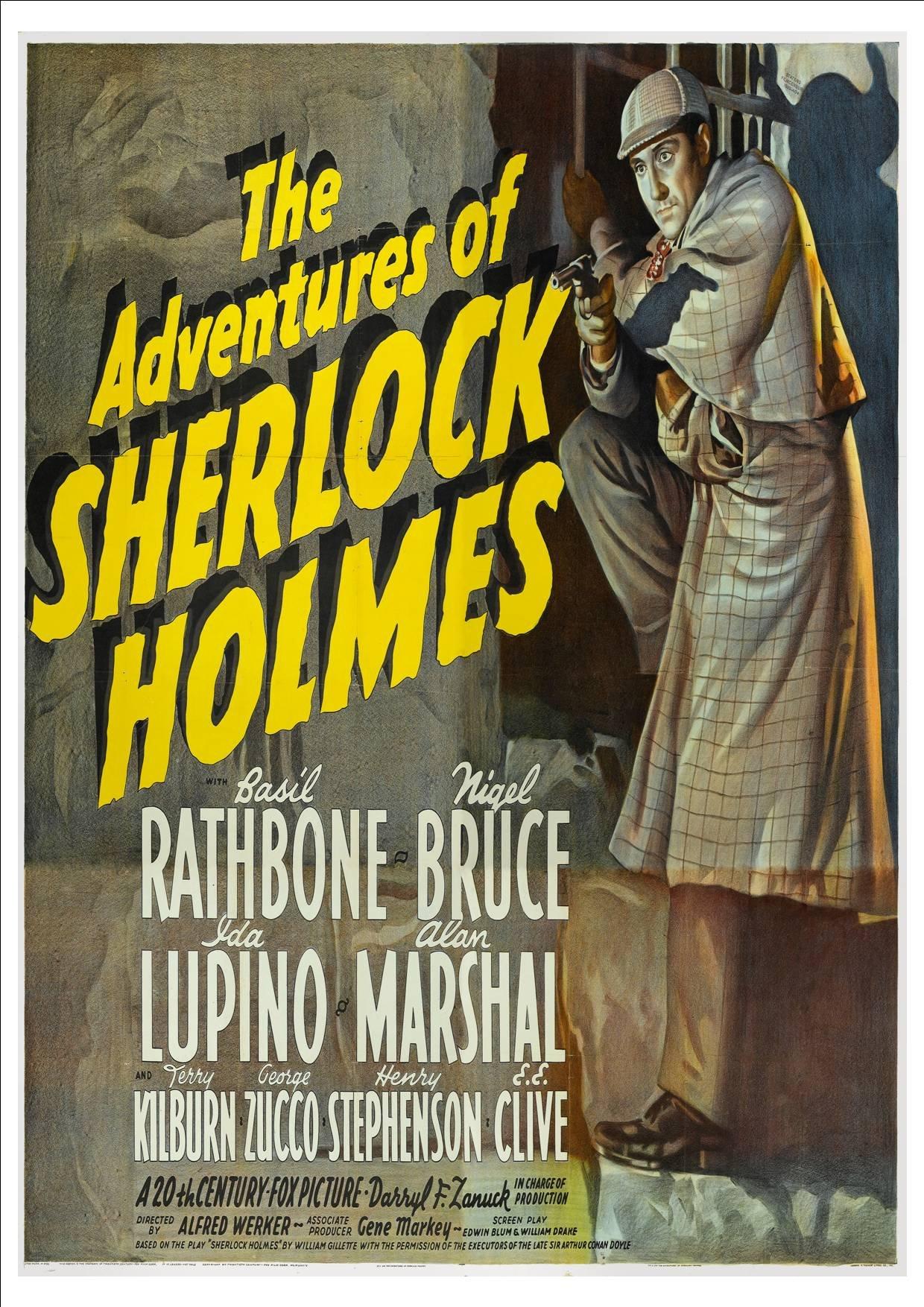 Adventures Of Sherlock Holmes Film Vintage Cinema Movie Poster Print Picture A4