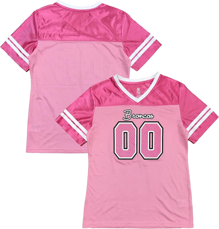Outerstuff Denver Broncos Logo #00 Pink Dazzle Girls Youth Jersey