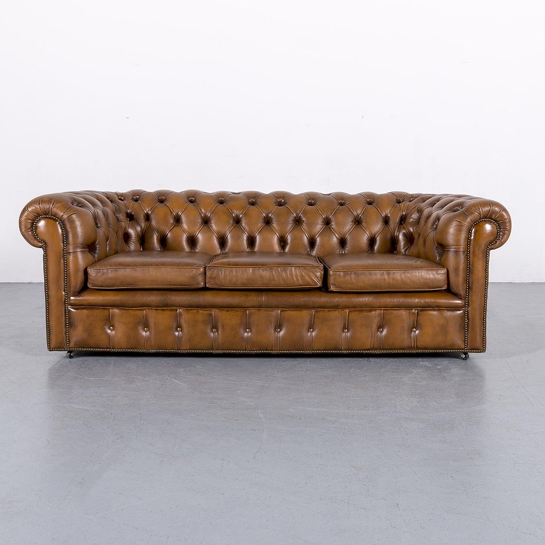 Chesterfield Leder Sofa Cognac Braun Braun Dreisitzer Couch Vintage