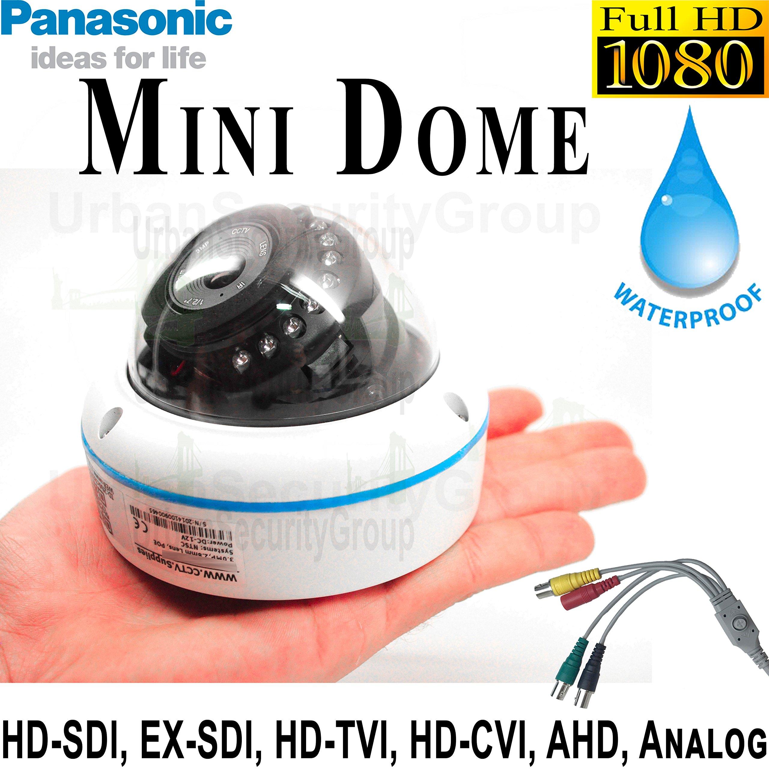 USG 6-in-1 CCTV Format Panasonic Chip 1080P 2MP High Definition Discreet Mini Dome Security Camera : 3.6mm Fixed Wide Angle Lens, 15x IR LEDs : HD-SDI, EX-SDI, HD-TVI, HD-CVI, AHD, Analog Format