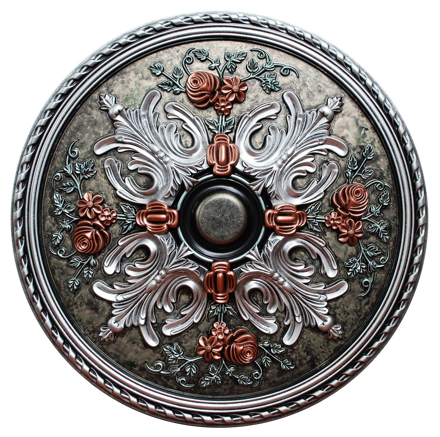 Fine Art Deco ''Winter Blossom'' Hand Painted Ceiling Medallion 32-3/4 In. Finished in Silver, Ivy, Teal and Copper Penny