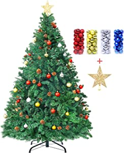 6ft/7ft Artificial Christmas Tree with Pine Cones for Home Office Party Decor, Best Holiday Christmas Decorations Gift (7ft)