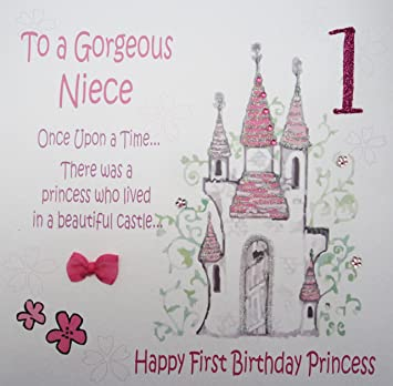 WHITE COTTON CARDS To A Gorgeous Niece 1 Handmade Large Fiary Tale 1st Birthday Card