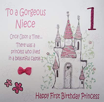 WHITE COTTON CARDS Code Xgl2 N Large Princess Castle To A Gorgeous Niece 1 Handmade Fiary Tale 1st Birthday Card Amazonin Home Kitchen