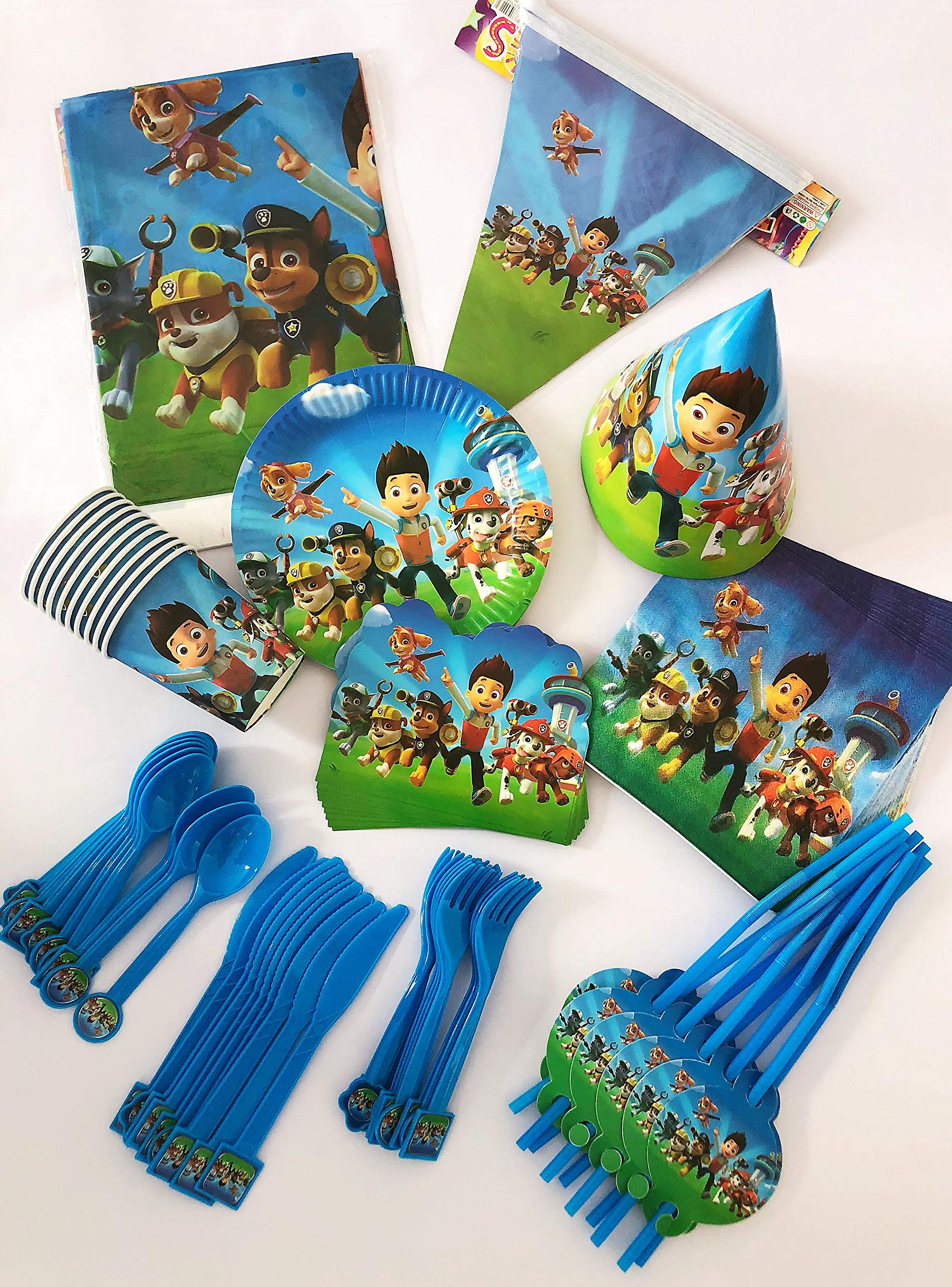 Paw Patrol Party SET SUPPLIES Plate Cup Napkin Hat Balloons Birthday Decoration