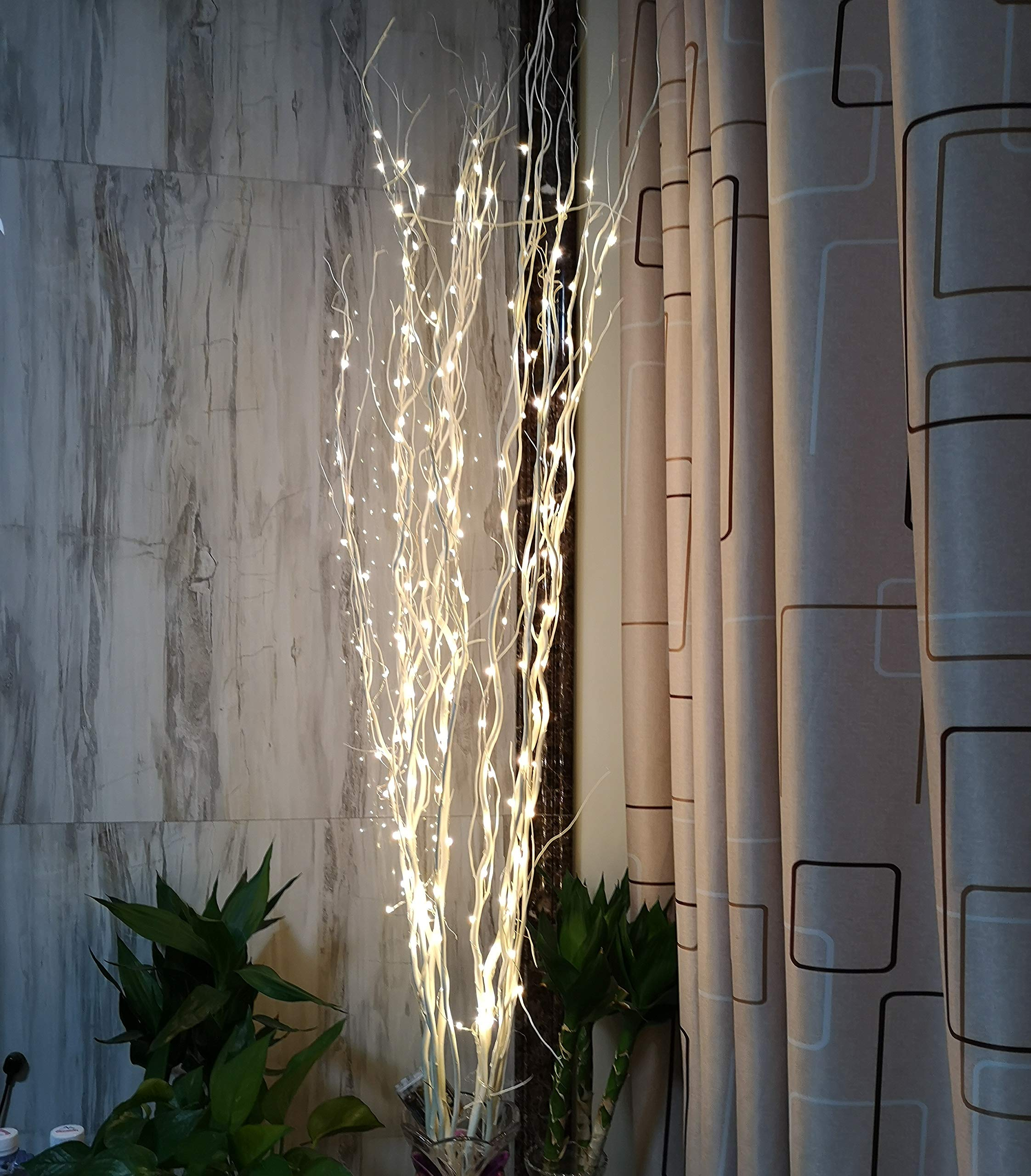 ZjRight 51Inch LED Natural Willow Twig Lighted Branch for Christmas Wedding Party Home Decoration Battery Powered DIY (Warm White)