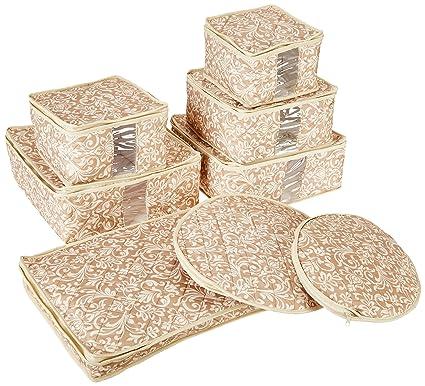 Genial Homewear 8 Piece Hudson Damask China Storage Container Set, Tan