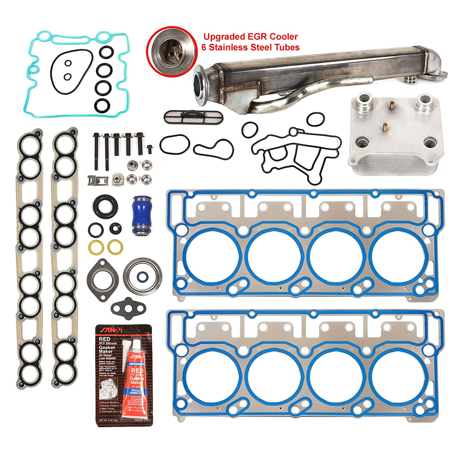 Evergreen egr-6.0-cnk-6 Temperatura de aceite, upgraded EGR enfriador Kit, y juntas de cabezal (18 mm pasadores) Ford V8 para cortacésped 6.0 Diesel Turbo: ...